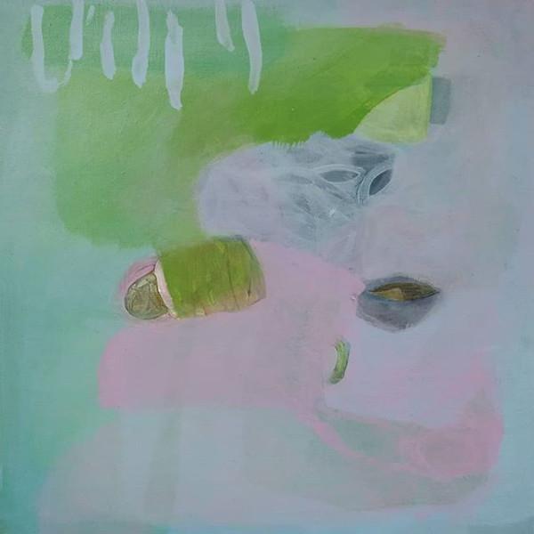 """Neue Serie in Arbeit. Hier ein erster Vorgeschmack mit einer kleinformatigen Arbeit, """"floating #4"""", 30x30 cm, Acryl auf Leinwand."""
