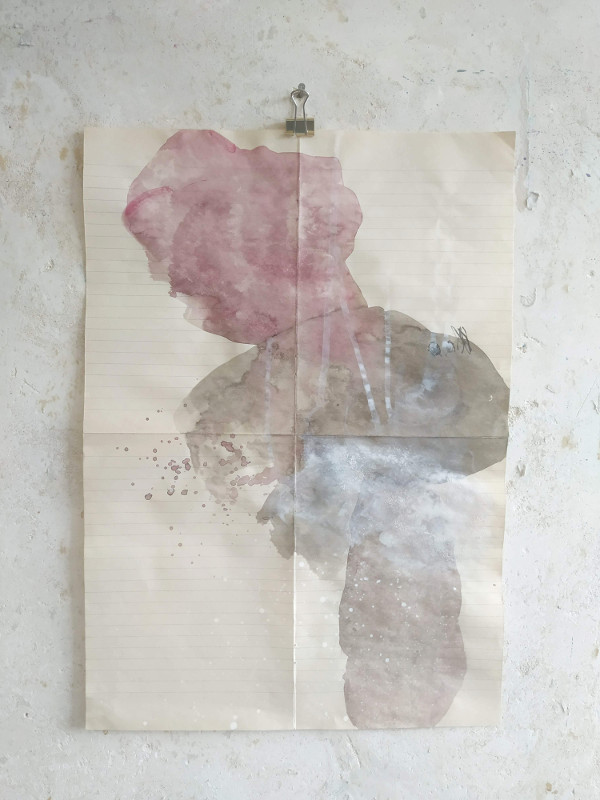 Studio view: Mixed media on old paper, 30 x 40 cm, 2019