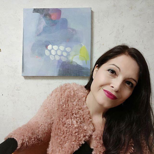 Denise Mungan, Atelier, abstract art, wip, work in progress, artist studio, blue, lila, yellow, canvas, abstrakt, kunst
