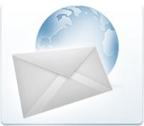 Fotoabbildung eines Erdglobus mit einem Briefcouvert und dem Untertitel:Eigene E-Mail Adresse.