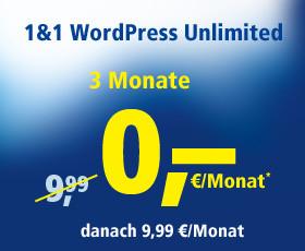 Bild zeigt   1&1 WordPress-Hosting für 3 Monate zu 0,-€,danach 9,99 €/Monat