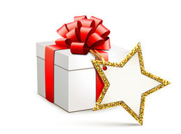Signs of Beauty Weihnachtsgeschenk Gutscheinaktion2014 Abbildung eines geschmückten Geschenkkartons