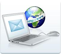 Fotoabbildung eines Lapptops und Maus sowie eines Globus mit http://www-Anzeige,auf dem Laptop ist ein Briefcouvert zu sehen.Das Foto hat den Untertitel:E-Mail Adresse mit eigener de-Endung