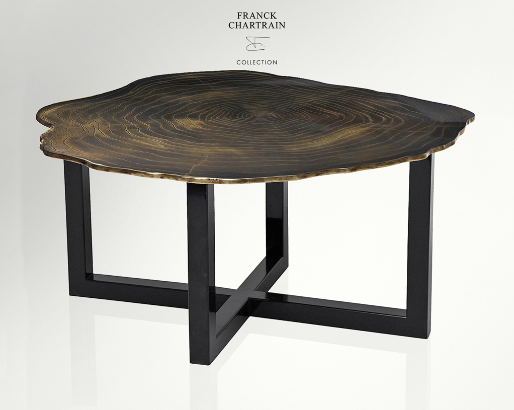 NARCISSUS COFFEE TABLE Textured bronze, lacquered black steel