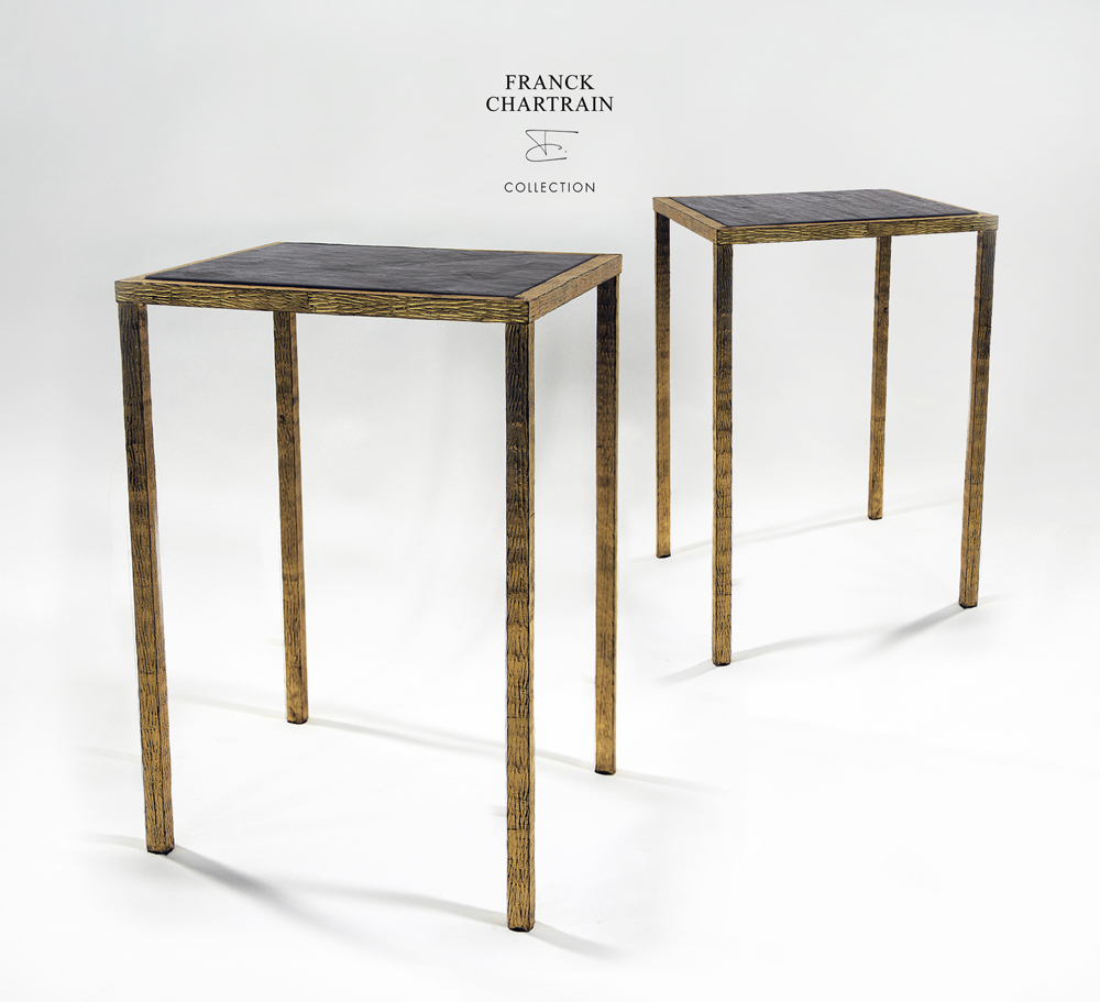 EPURE SIDE TABLE Gold leaf, wrought iron, slate