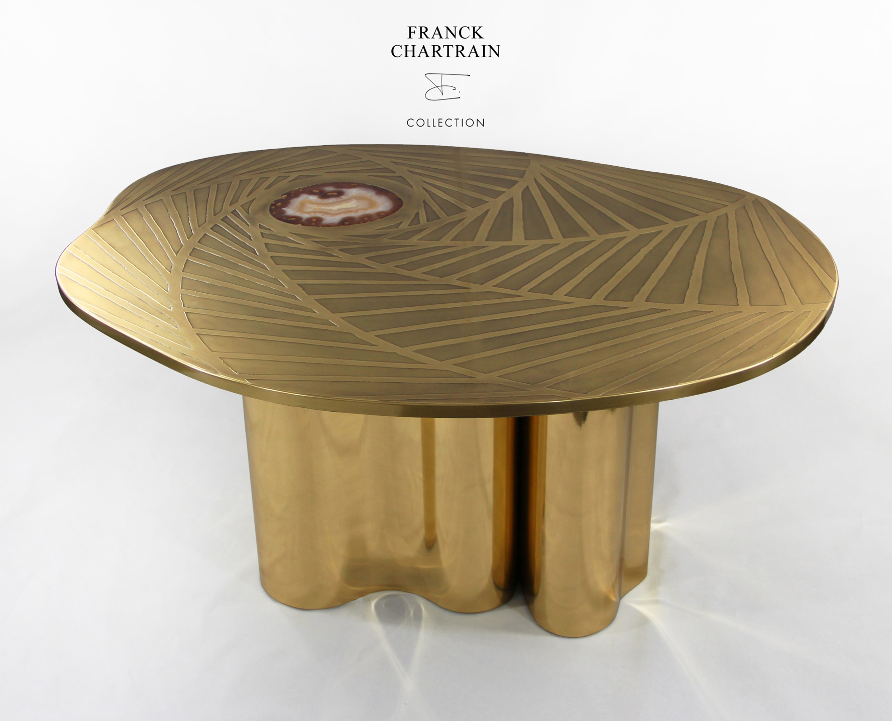TOURBILLON COFFEE TABLE Bronze top, agate and draped base