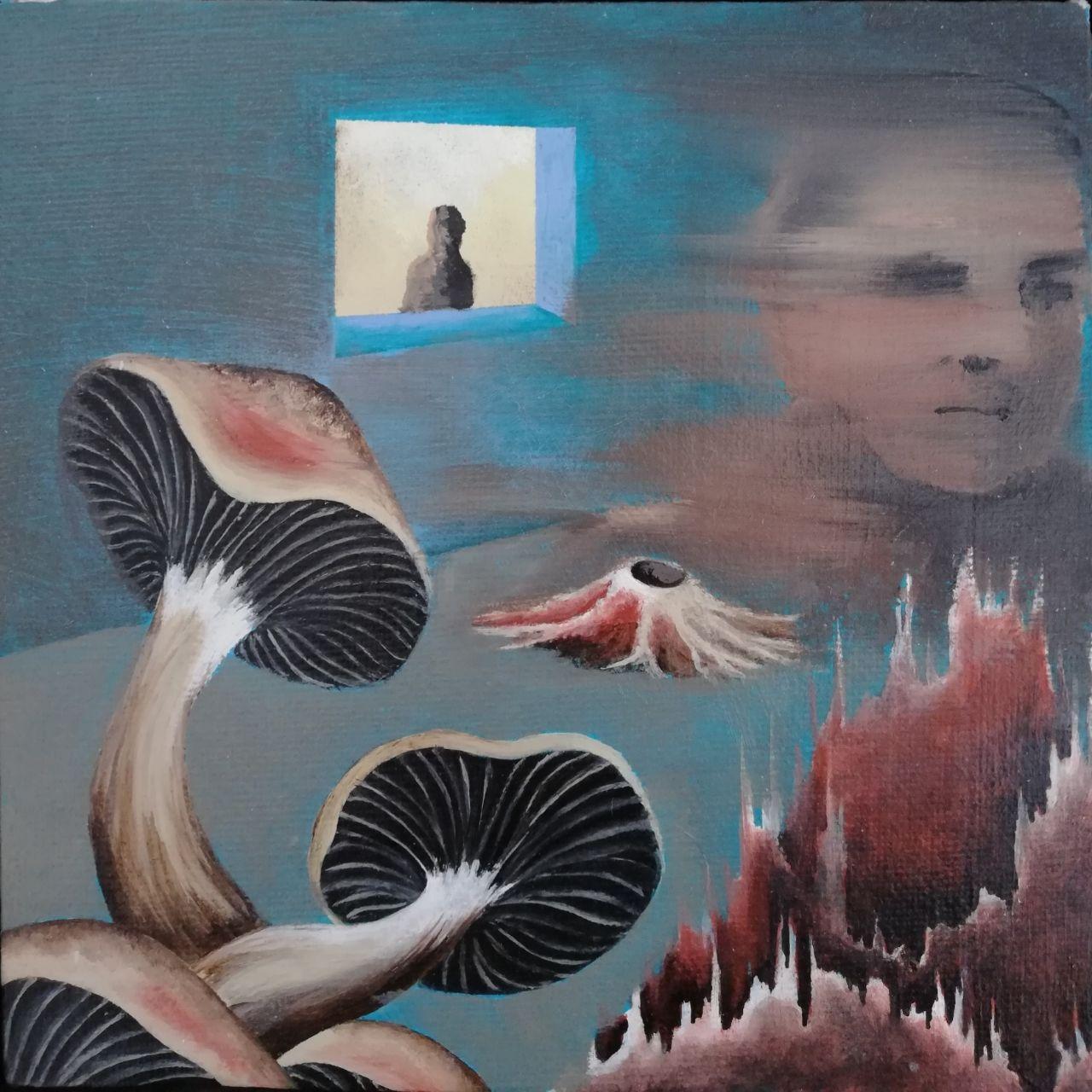Shahryar auf beide Seiten, Öl und Acryl auf Leinwand,       10 x 10 cm
