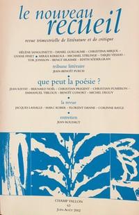 Revue, Le Nouveau recueil, 63, juin-août 2002.