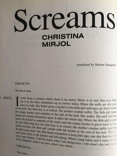 Revue, Brand, 05, été-autopne 2009, Screams (Les cris de Christina Mirjol), traduits par Marion Naugrette.