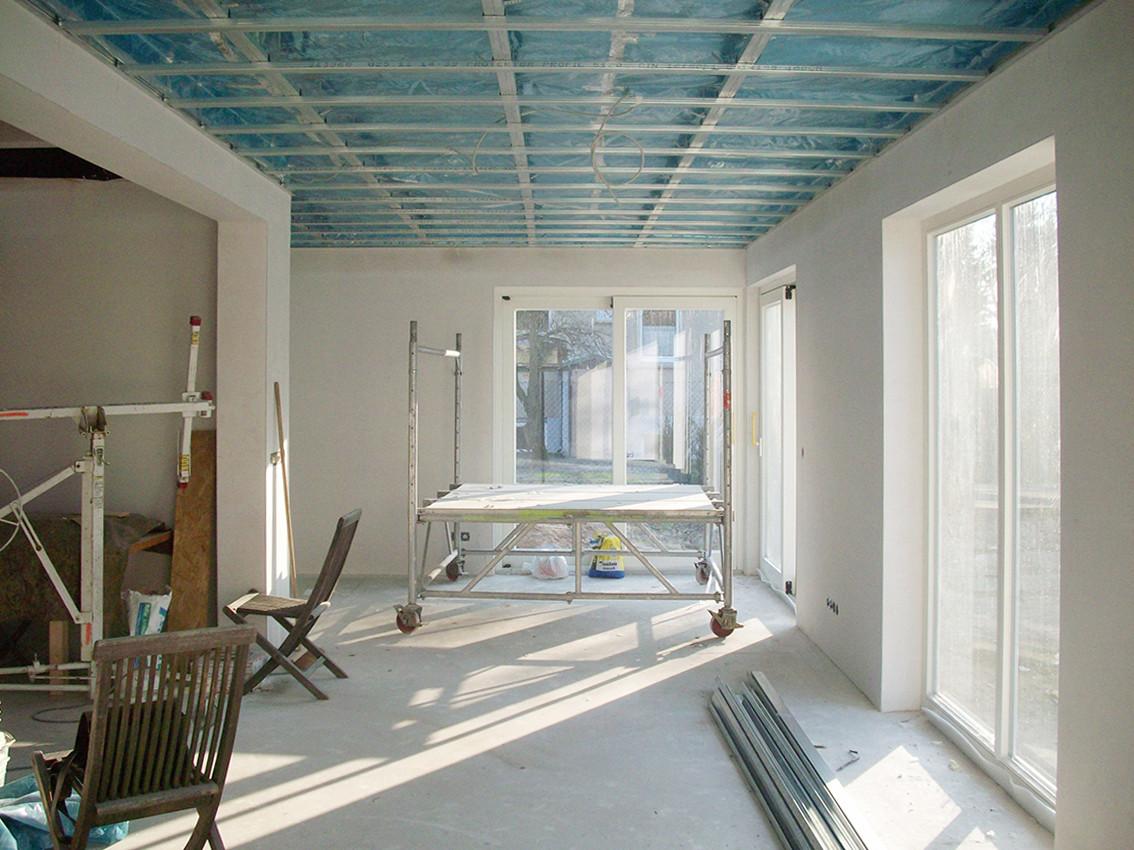 Ansicht Wohnraum, während des Innenausbaus