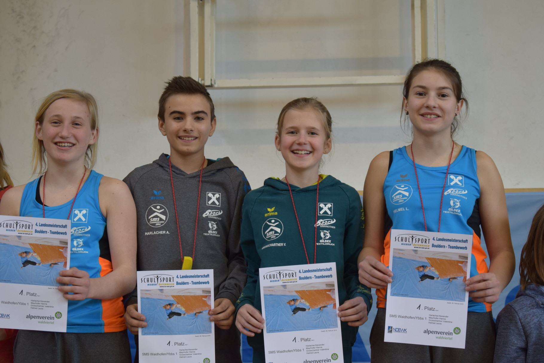 NÖ-Landesmeister im Bouldern 2016 (Teambewerb) Hanna Mayrhofer – Alexander Harlacher – Valentina Großschartner – Laura Helmel