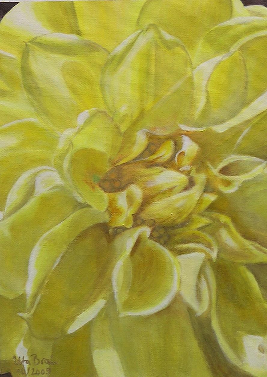 Blütenstruktur gelb- Dahlie (30 x 40)