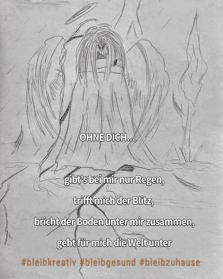 Niedergeschlagener Engel ( Wort: traurig)