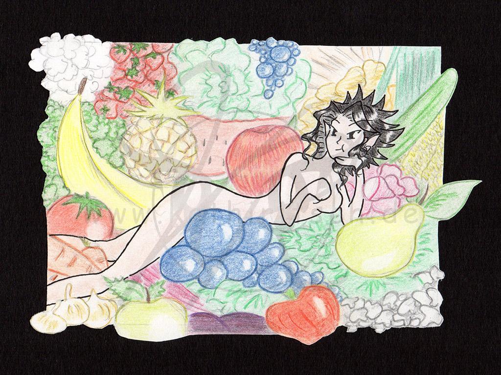 Lady fruchtig eingebettet
