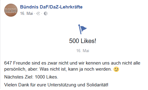 500 Likes in 3 Monaten: Die Facebook-Seite startet durch. www.facebook.com/buendnis-dafdaz