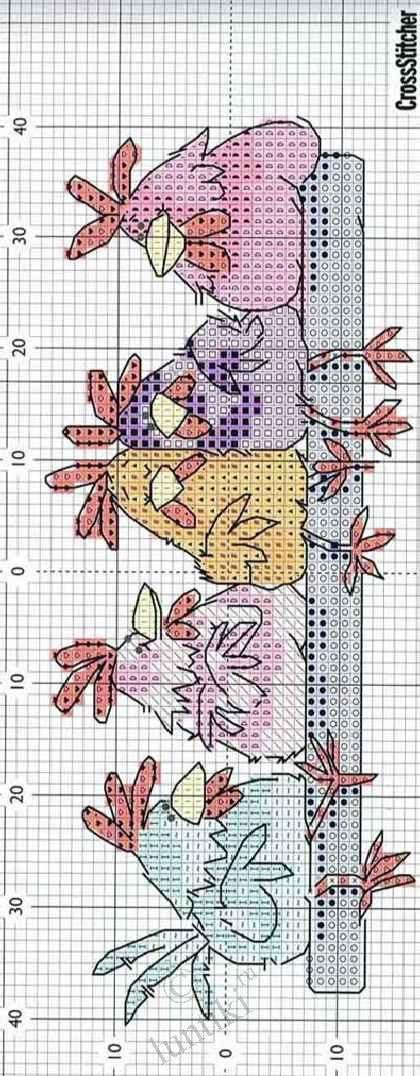 Схемы вышивки курочек и петушков