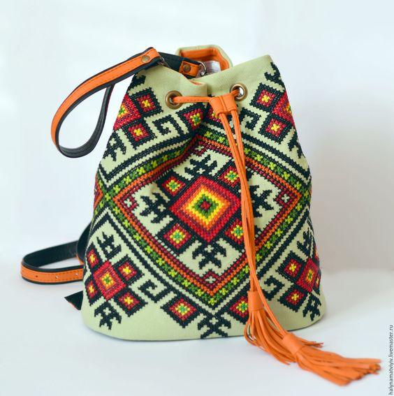 вышивка на сумке, вышивка крестом