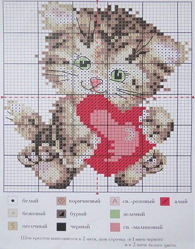 схема вышивки кота мышки ежика собаки