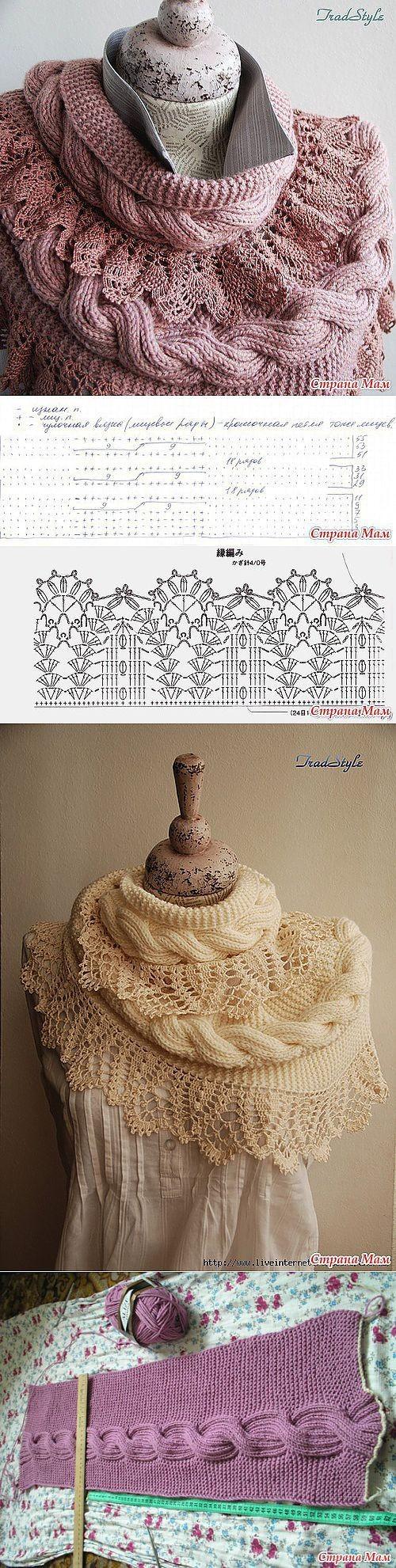 вязаный шарф, вязаное кружево, Вязаный край  красивый вязаный край узор вязание , вязаный фестон,  вязаная кромка, вязаная рюша,
