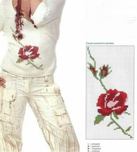 Вышивка на вязание изделии. Вышитая роза.