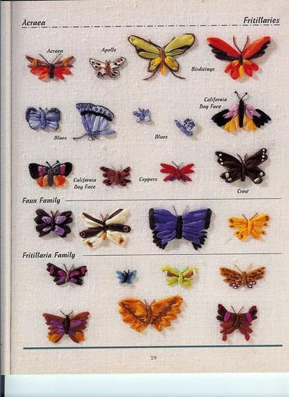 Забавные бабочки для вышивки лентами схемы для вышивки