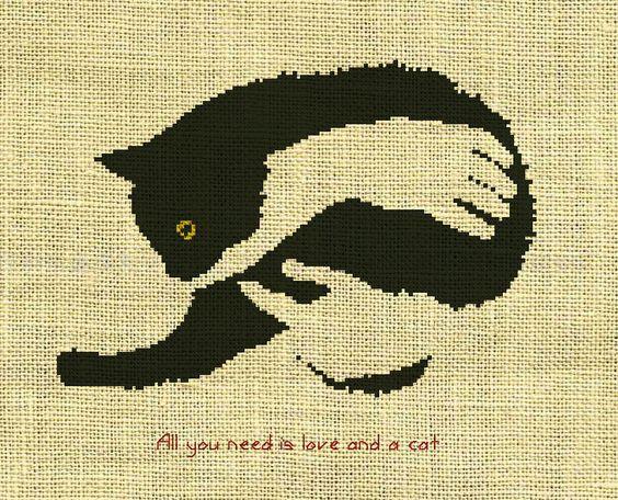 схемы вышивки животных, схема вышивки кота