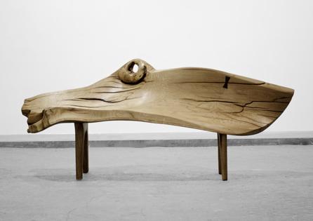 Bench · B1119 · Oak, Walnut#bench#stool#console#sculpture#bowl#coffeetable#woodworking#interiordesign#woodsculptures#art#woodart#wooddesign#decorativewood#originalartwork#modernwoodsculpture#joergpietschmann#oldwood