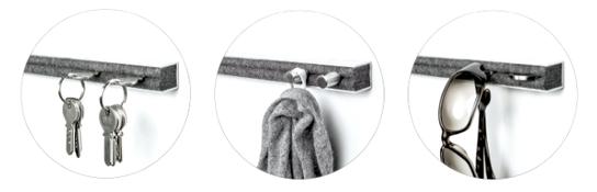schlüssel tasche jacke haken knopf edelstahl alu brille ring sonnenbrille filz wolle garderobe design