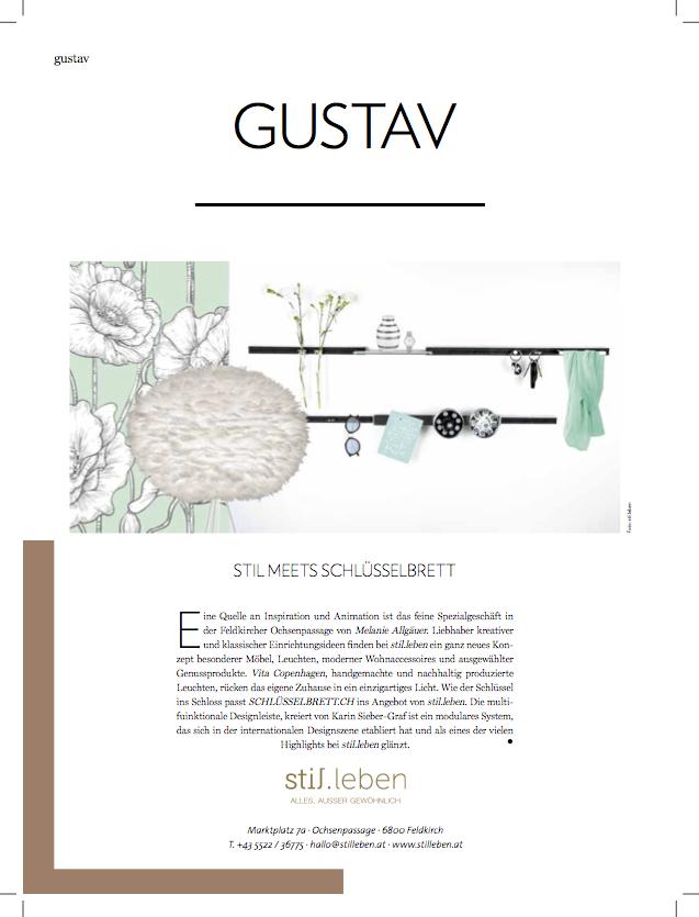 Gustav, die Vorarlbergerin, Medienbericht schlüsselbrett, Alu Designleiste, Design Award, genial einfach, multifunktional, Ordnungswunder, Designfilz, Garderobe, Küche, Bad