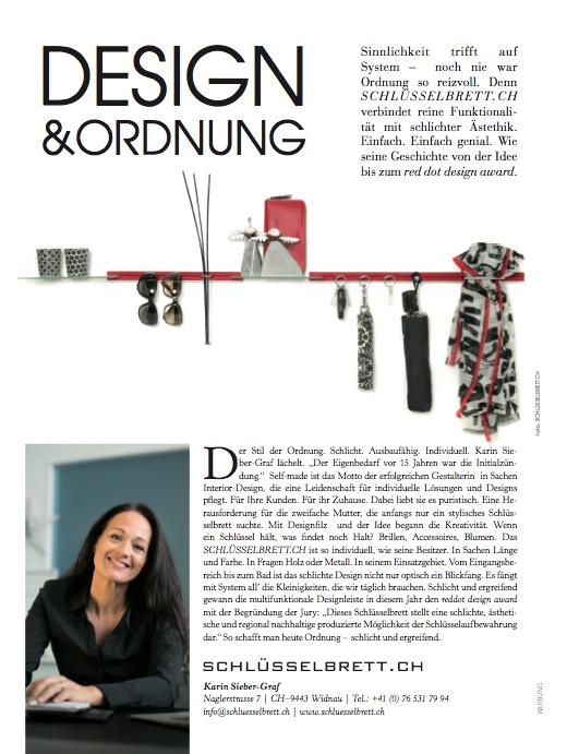 die Vorarlbergerin Magazin, Medienbericht schlüsselbrett, Alu Designleiste, Design Award, genial einfach, multifunktional, Ordnungswunder, Designfilz, Garderobe, Küche, Bad