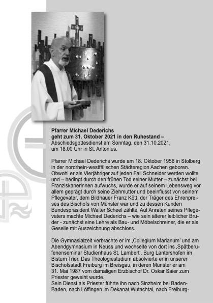 Pfarrer Michael Dederichs geht zum 31. Oktober 2021 in den Ruhestand