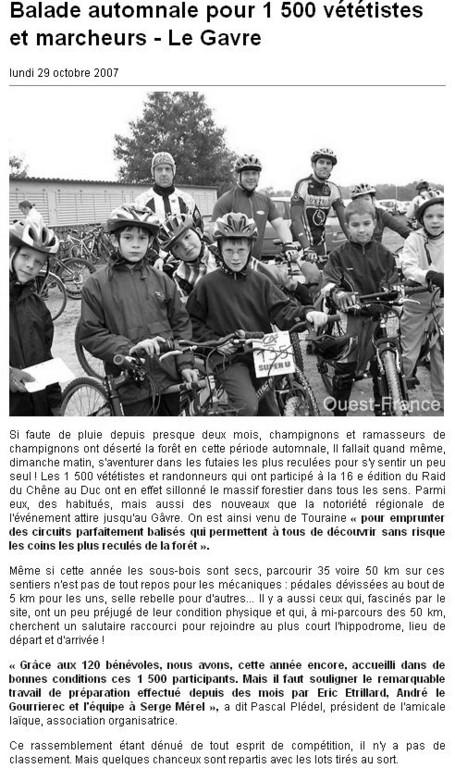 Ouest France - 27 Octobre 2007