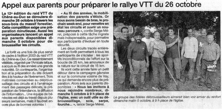 Ouest France - Septembre 2003