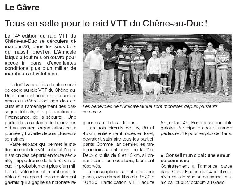 Ouest France - 26 Octobre 2005