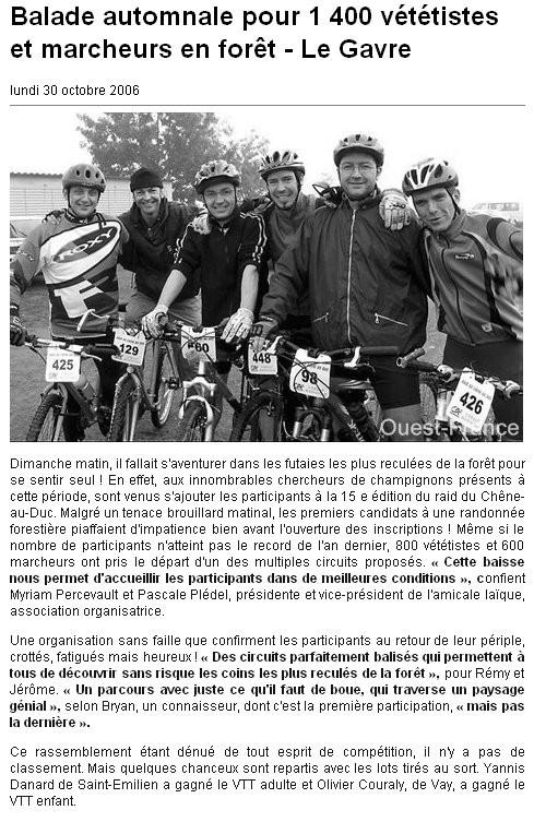 Ouest France - 30 Octobre 2006