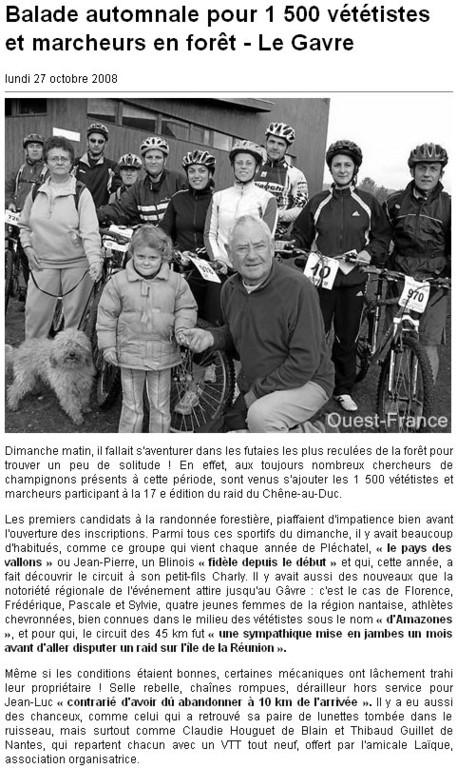 Ouest France - 27 Octobre 2008