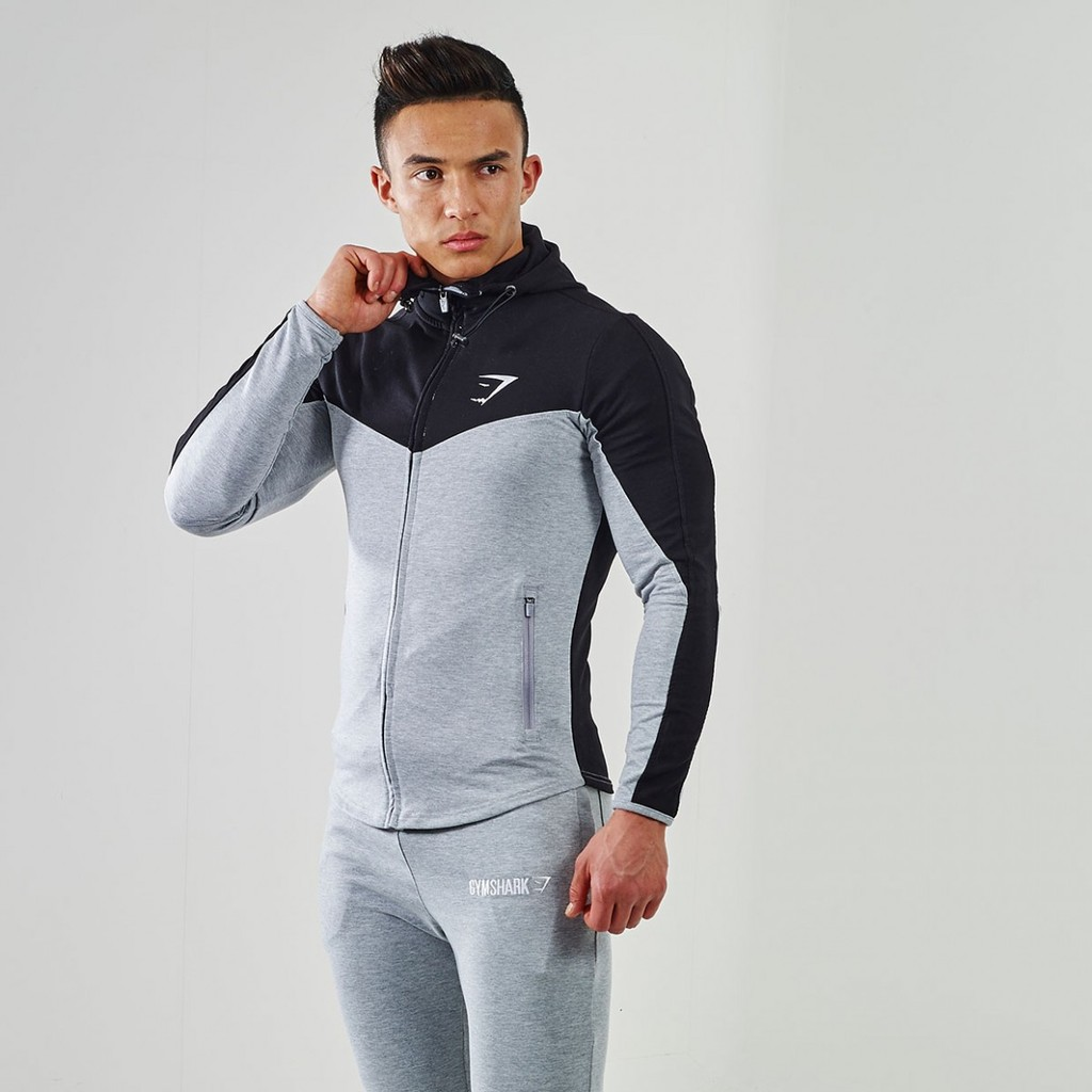 GymShark Fit Hooded Top V2 Black/Grey Marl - GymShark ...