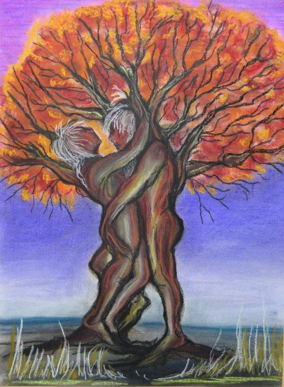 Herbstglühen, Pastellkreide auf Karton 50 x 70, Silvia Bauer