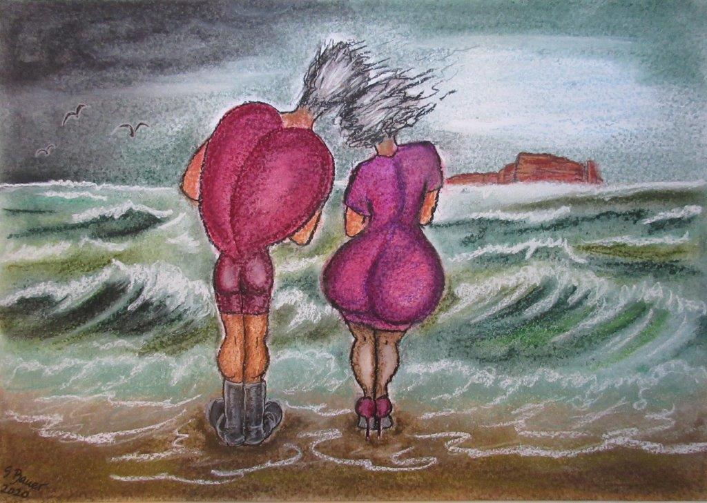Herzsturm, Pastellkreide auf Karton 50 x 70, Silvia Bauer