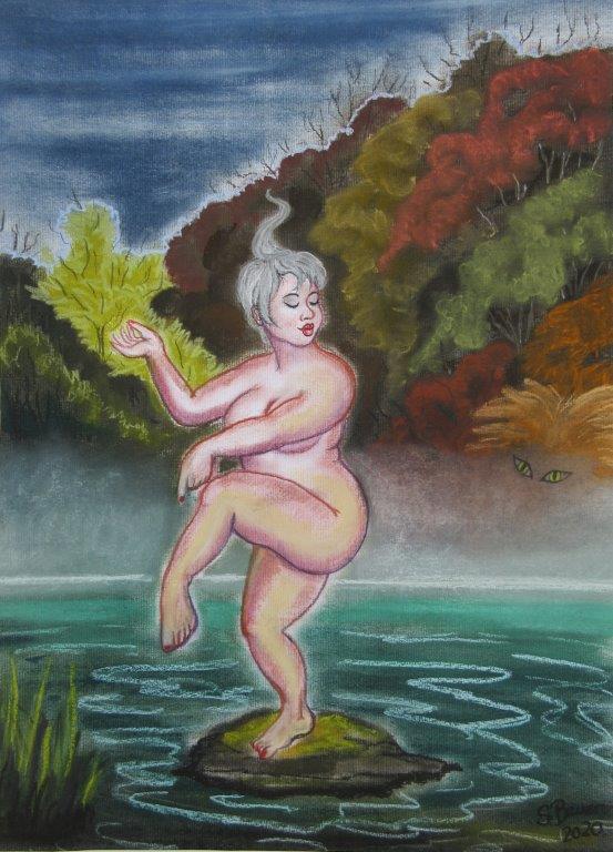 Nirgendwo sicher, Pastellkreide auf Karton 50 x 70, Silvia Bauer