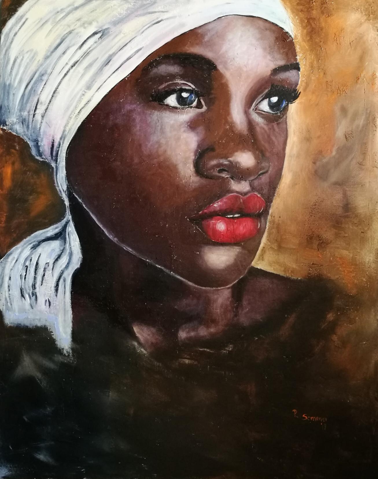 Portrait einer Afrikanerin, Acryl und Strukturmaterial auf Leinwand, 110 x 140 Regina Sommer
