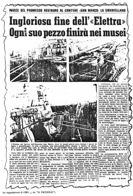 """L'articolo del quotidiano """"il Piccolo"""" di Trieste che annuncia l'ingloriosa fine della nave Elettra"""