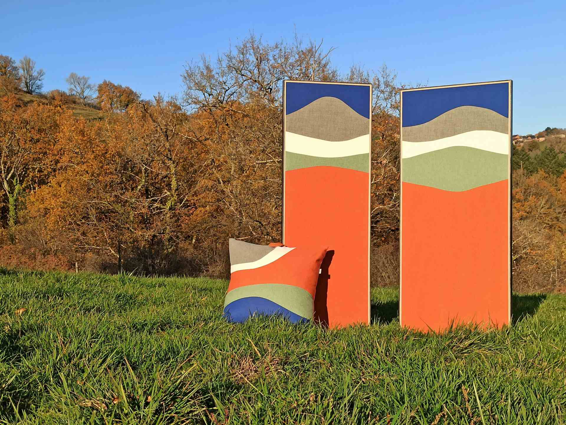 """Paravent contemporain """"Panoramique"""" © Atelier Marlène Vidal"""