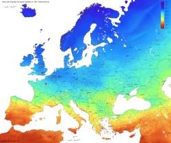 Solar Strahlungskarte Europa, optimal geneigte Fläche