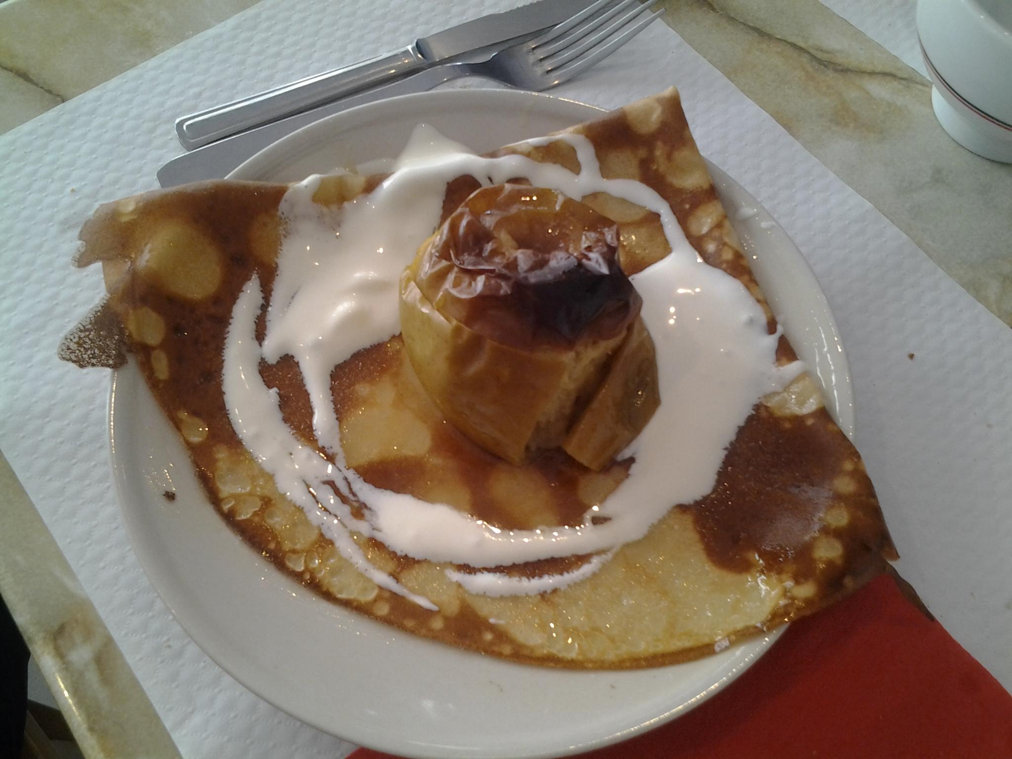 crêperie les embruns, Binic, pomme rotie sur crêpe