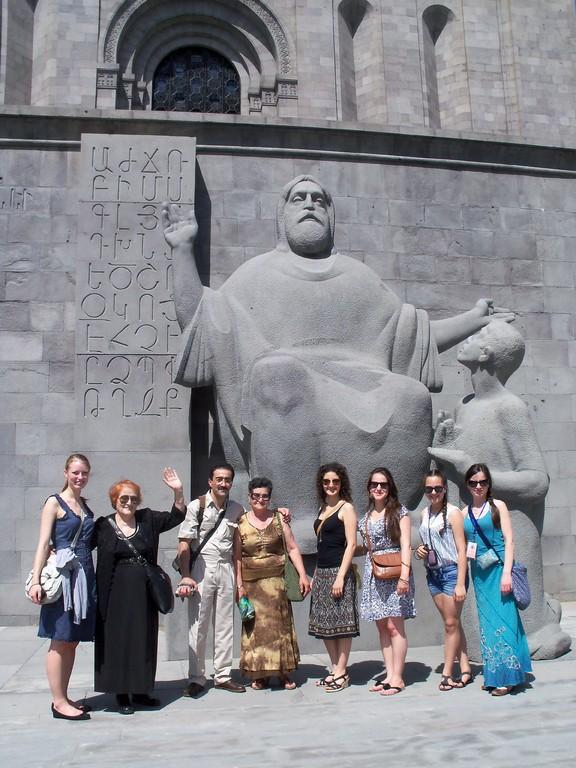 Mesrop Mashtots - the creator of armenian alphabet and his student