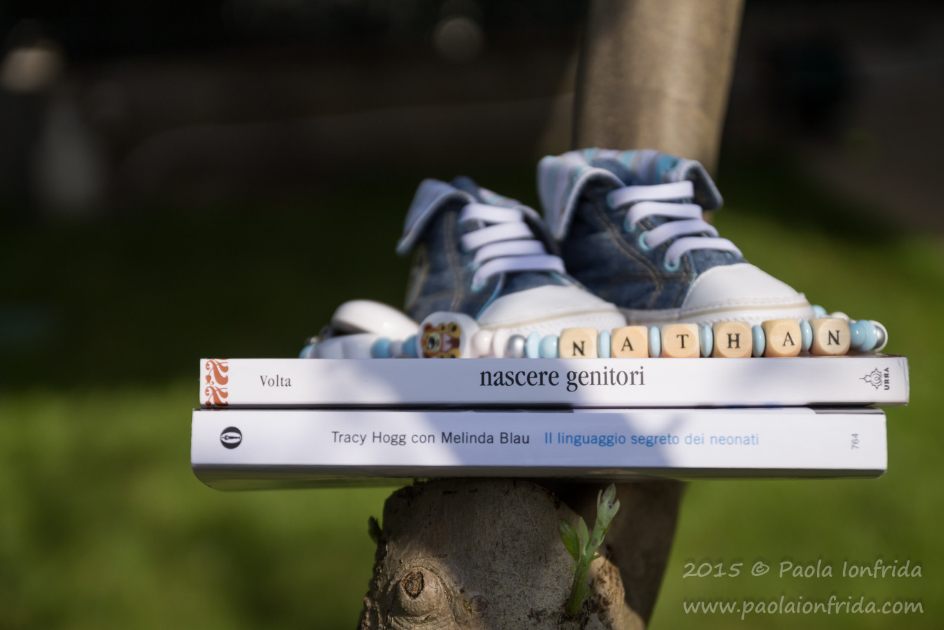 Book & shoes on tree