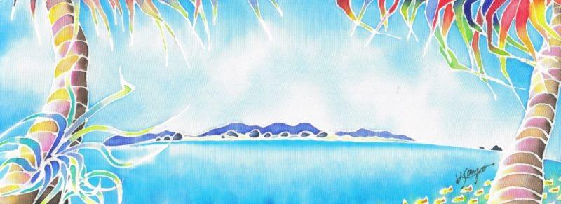 アダンと海:原画サイズ11x30cm SOLD