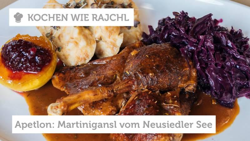 Burgenland: Martinigansl mit Serviettenknödel, Rotkraut und Preiselbeer-Apfel