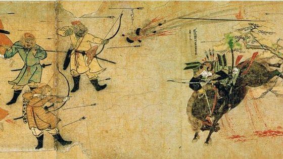Bild: Alte Malerei, japanische Samurai wehren Mongolen ab, Geschichte von Matcha